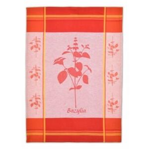 Červené kuchynské utierky z bavlny s motívom bazalky