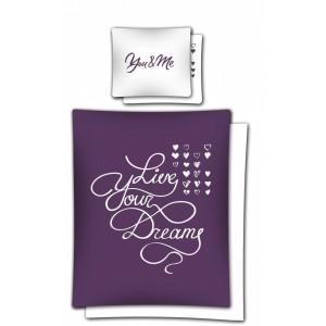 Romantické posteľné obliečky z bavlny fialovej farby