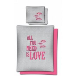 Ružovo sivé posteľné obliečky z bavlny 140x200