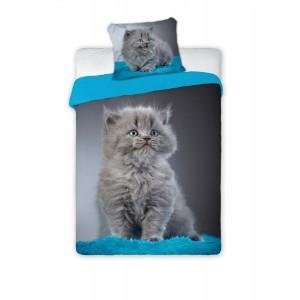 Dievčenské bavlnené posteľné obliečky s motívom mačky