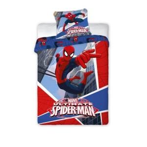 Červené posteľné obliečky pre chlapcov s motívom Spiderman