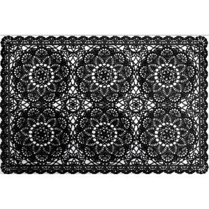 Čierne prestieranie na stôl vzor čipka
