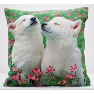 Dekoračné obliečky na vankúš bielo zelenej farby so psíkmi
