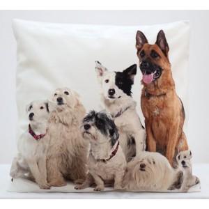 Bielo krémové obliečky na vankúš s motívom psoch