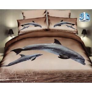 Hnedé posteľné obliečky s delfínmi