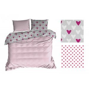Ružové obojstranné posteľné obliečky so srdiečkami