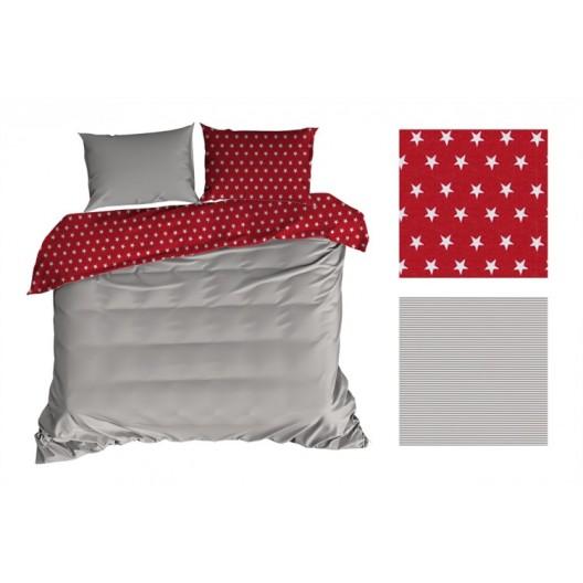Červeno sivé obojstranné posteľné obliečky s hviezdičkami