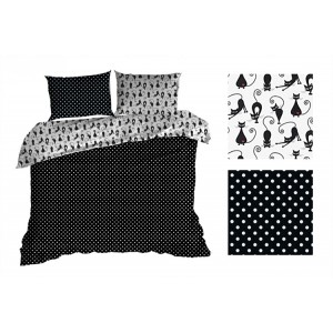 Čierne obojstranné posteľné obliečky s mačičkami