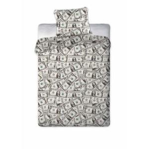 Bavlnená posteľná bielizeň s motívom dolárov