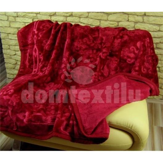 Luxusné deky z akrylu 160 x 210cm bordova č.1