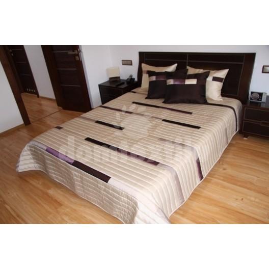 Luxusný prehoz na posteľ  smotanovo hnedý s pruhmi