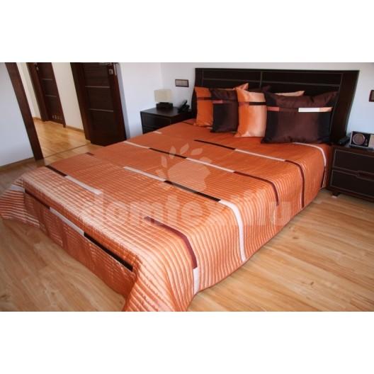 Luxusný prehoz na posteľ odtiene oranžovej s čiernými a béžovými prúžkami
