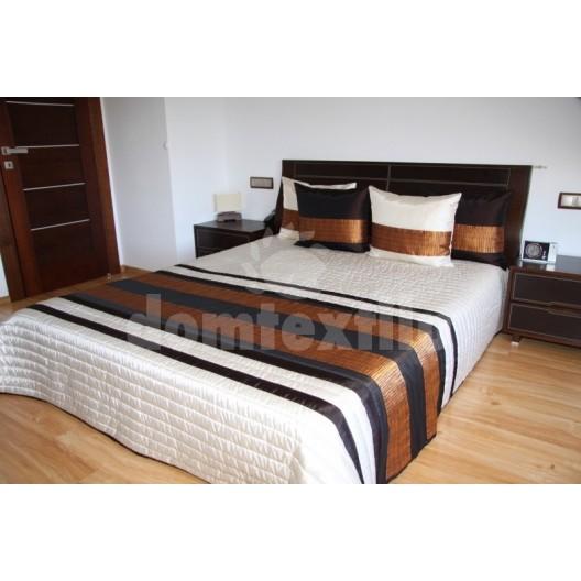 Luxusný prehoz na posteľ béžový s hnedými pásmi