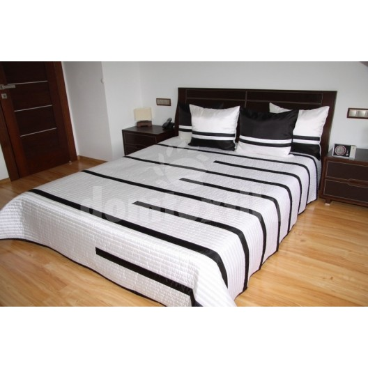 Luxusný prehoz na posteľ béžový s čiernymi prúžkami