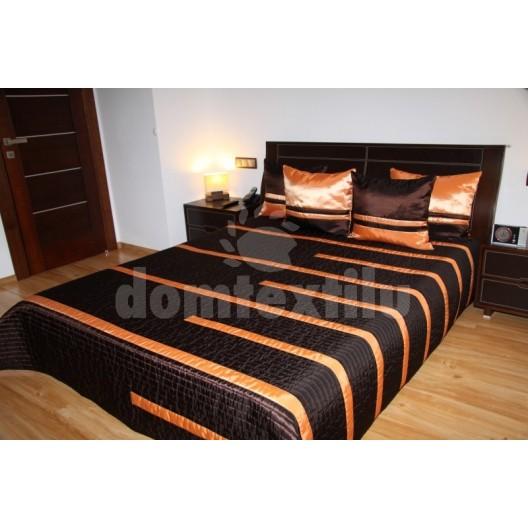 Luxusný prehoz na posteľ čokoladový s oranžovými pružkami