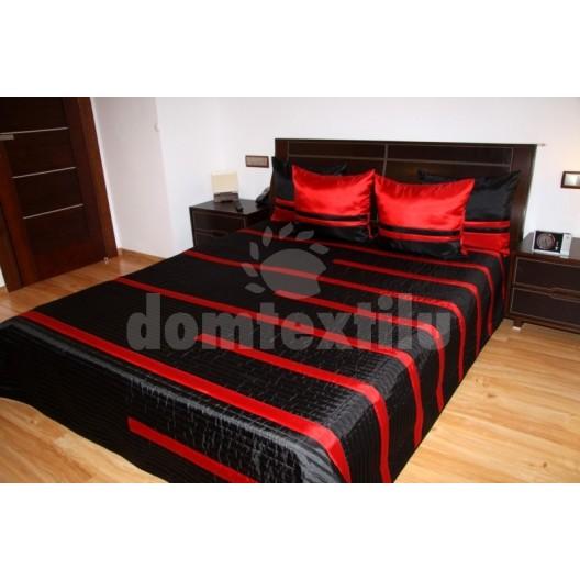 Luxusný prehoz na posteľ čierny s červenými pásmi