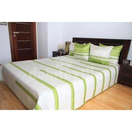 Luxusný prehoz na posteľ béžový s zelenými čiarami