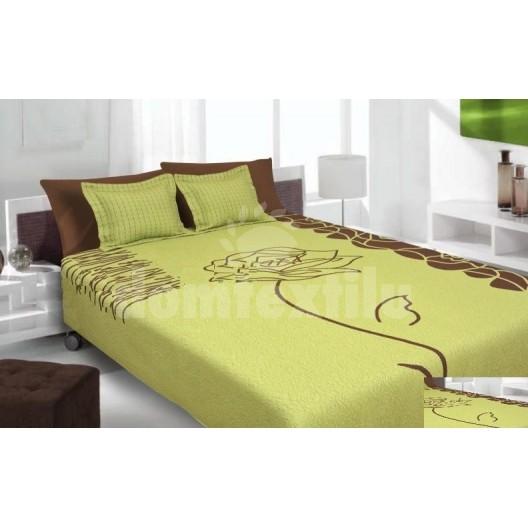 Luxusný obojstranný prehoz na posteľ zelený s hnedým vzorom