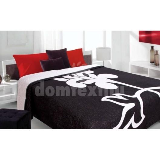 Luxusný obojstranný prehoz na posteľ čierny s bielym kvetom