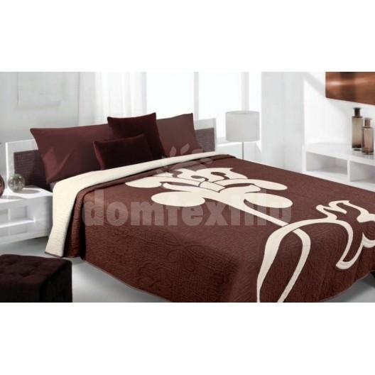 Luxusný obojstranný prehoz na posteľ hnedý s bielym vzorom