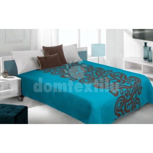 Luxusný obojstranný prehoz na posteľ tyrkysový s hnedým motívom