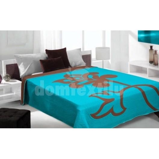 Luxusný obojstranný prehoz na posteľ modrý s hnedým vzorom
