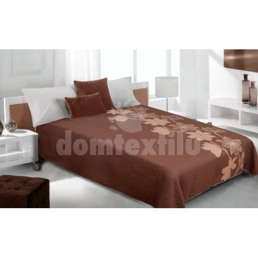 Luxusný obojstranný prehoz na posteľ odtiene hnedej farby s kvetom