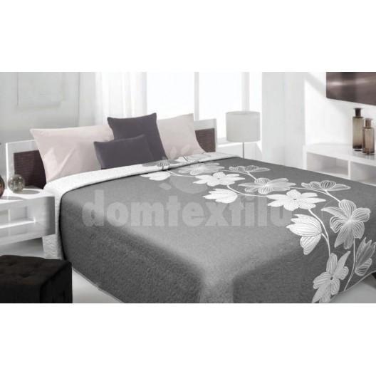 Luxusný obojstranný prehoz na posteľ odtiene sivej farby