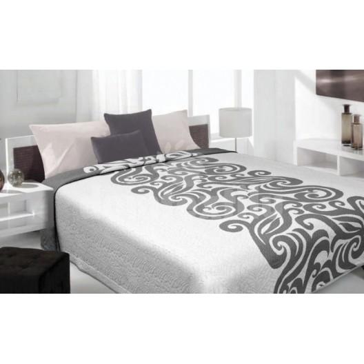 Luxusný obojstranný prehoz na posteľ biely so sivým motívom