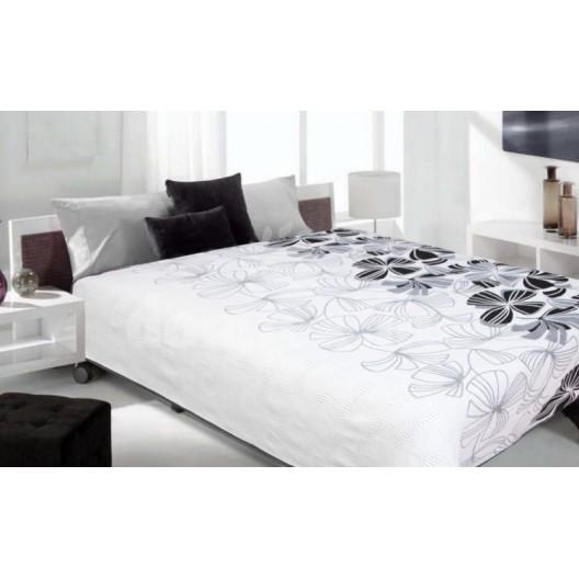 Luxusný obojstranný prehoz na posteľ béžová so sivým kvietkom