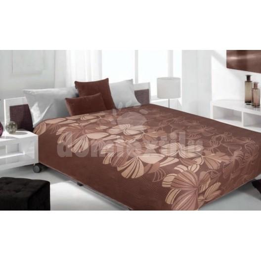 Luxusný obojstranný prehoz na posteľ hnedý s hnedými kvetami