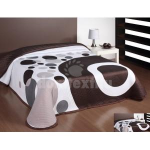 Luxusný obojstranný prehoz na posteľ hnedo biely s motívom