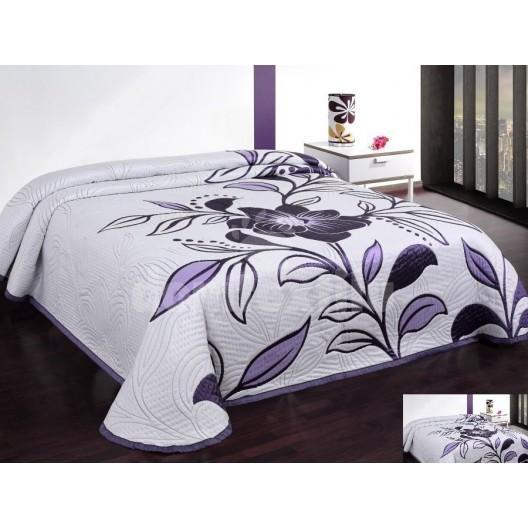 Luxusný obojstranný prehoz na posteľ biely s fialovými kvetmi