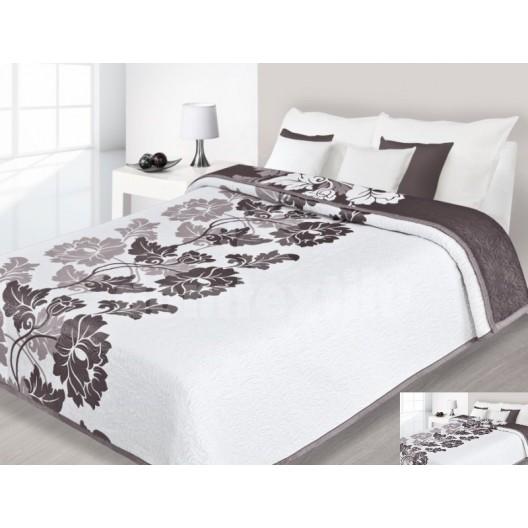 Luxusný obojstranný prehoz na posteľ s ornamentom a hnedým pozadím