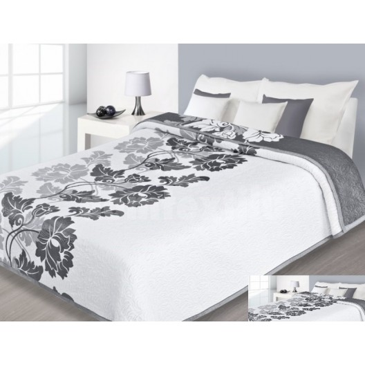 Luxusný obojstranný prehoz na posteľ sivý s bielymi kvetmi