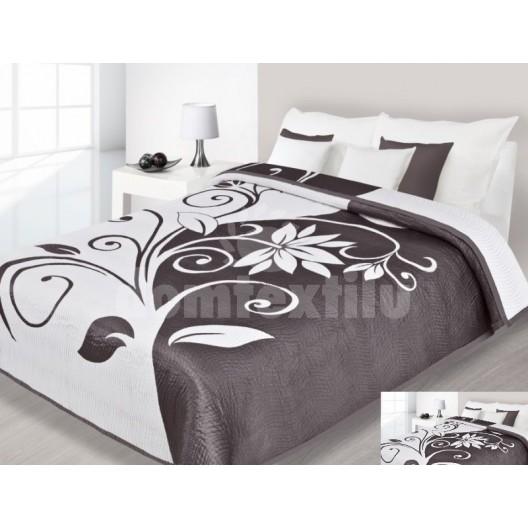 Luxusný obojstranný prehoz na posteľ krémovo hnedý s bielym vzorom