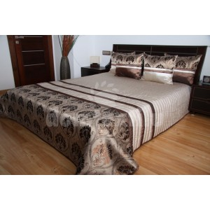 Luxusný prehoz na posteľ odtiene hnedej farby s motívom