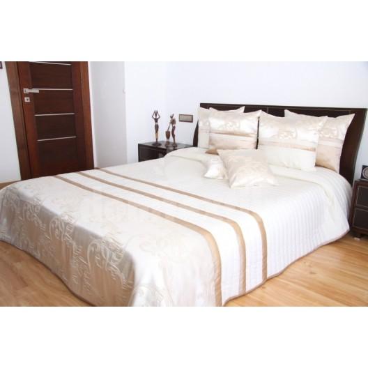 Luxusný prehoz na posteľ krémový s karamelovými pásmi