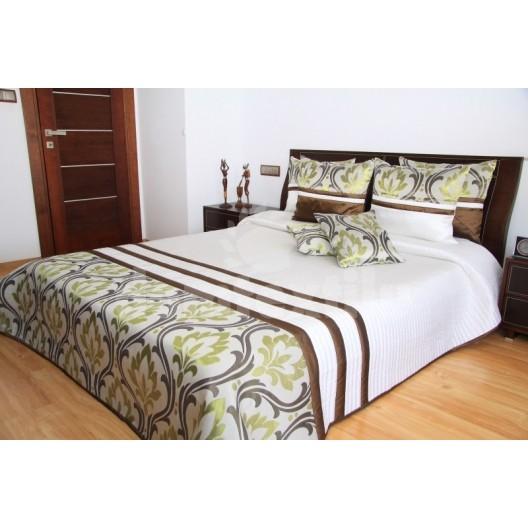 Luxusný prehoz na posteľ  hnedo béžový s olivovým motívom