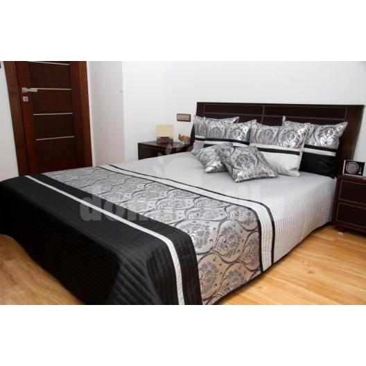 Luxusný prehoz na posteľ čierno strieborno šedý