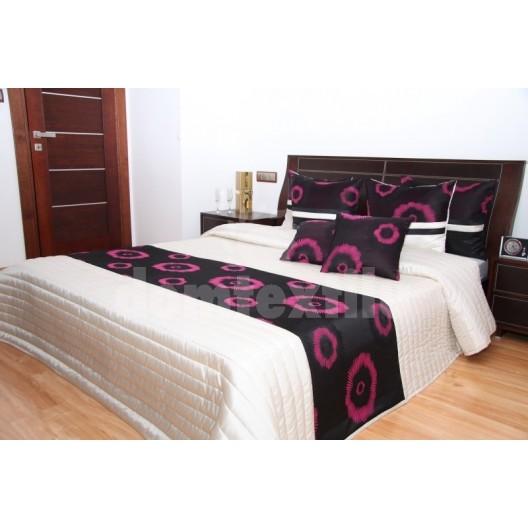 Luxusný prehoz na posteľ béžový s ružovými krúžkami a čiernym pozadím