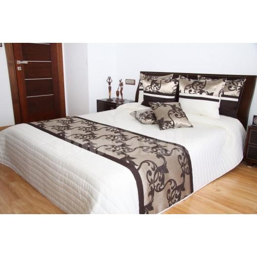 Luxusný prehoz na posteľ béžový s hnedým motívom