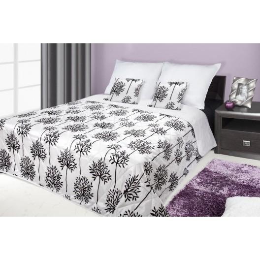 Francúzsky prehoz na posteľ čierny s bielymi kvetmi