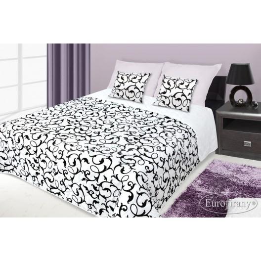 Francúzsky prehoz na posteľ biely s čiernym motívom