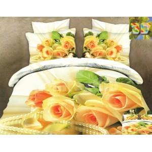 Luxusné posteľné obliečky 100% bavlnený satém so žltými ružami