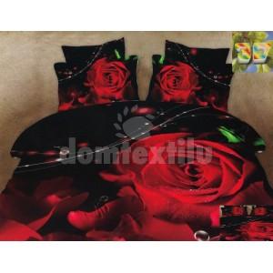 Luxusné psoteľné obliečky 100% bavlnený satém čiernej farby s ružou