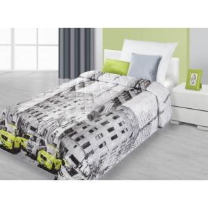 Prehoz na posteľ bielo čiernej farby s motívom ulice