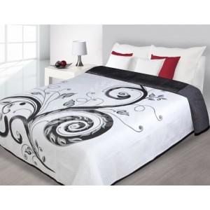 Prehoz na posteľ čiernej farby s kvetinovým motívom