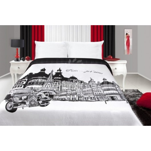 Čierno biely prehoz na posteľ s motívom Paríž