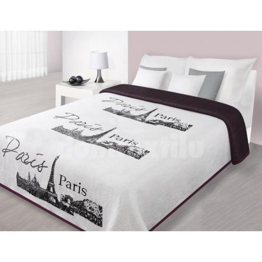 Prehoz na posteľ bielej farby s panorámou Paríža